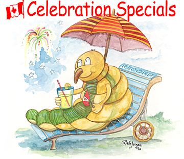 Celebrate Canada Day with Great Prices - Recorp Inc. July Special, Copyright © 2010, Recorp Inc., illustration by Stella Jurgen.